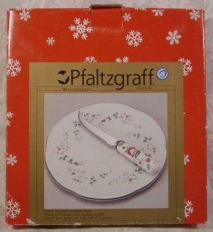 PFALTZGRAFF WINTERBERRY HOLLY CHEESE TRAY W/SLICER *NM*