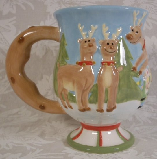 DANTES REINDEER SLEIGH TEAM TRY-OYTS MUG HAND PAINTED/CRAFTED