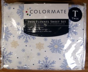 COLORMATE SNOWFLAKE THEME TWIN FLANNEL SHEET SET *NEW*
