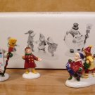 "DEPT. 56 SNOW VILLAGE 3 PC CERAMIC ACCESSORY ""HE LED THEM DOWN THE STREETS OF TOWN"""