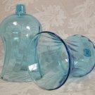 HOME INTERIORS TALL BLUE GLASS VOTIVE HOLDERS PEGLITES
