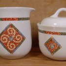 CORELLE COORDINATES SAND ART CREAM PITCHER & SUGAR BOWL