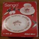 SANGO JINGLE BELLS 12 PC HOLIDAY DINNERWARE 1989  *NIB*