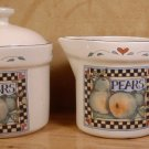 SUSAN WINGET CIC HARVEST FAIR PEARS CREAM SUGAR  *EUC*