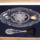 GENUINE LEAD CRYSTAL ROSE DRESSER TRAY W/BLUSH BRUSH