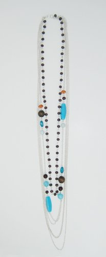 Long Brown and Turquoise Chain Necklace