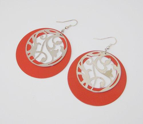 Red Stencil Earrings