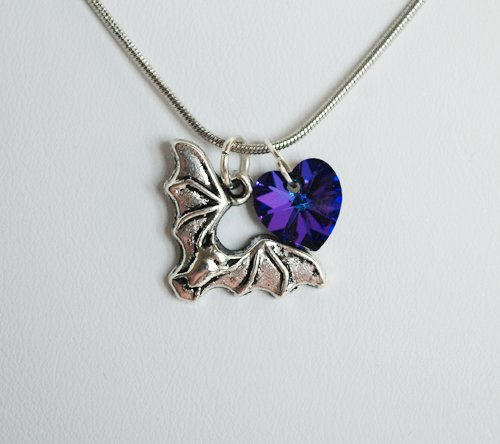 Swarovski Twilight Bat Necklace (Purple)