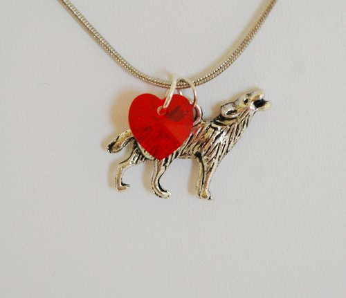 Swarovski Twilight Wolf Necklace (Red)