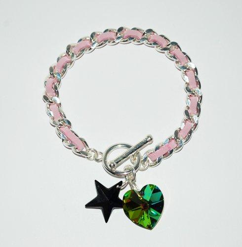 Pink Suede Swarovski Star and Heart Bracelet