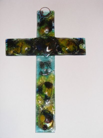 Gothic large handmade lampwork glass wall cross