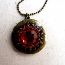 New Vintage Nostalgia faux ruby locket necklace