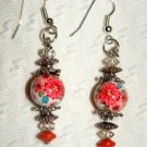 Artisan Handmade tensha beads glass and silver Vintage romance earrings