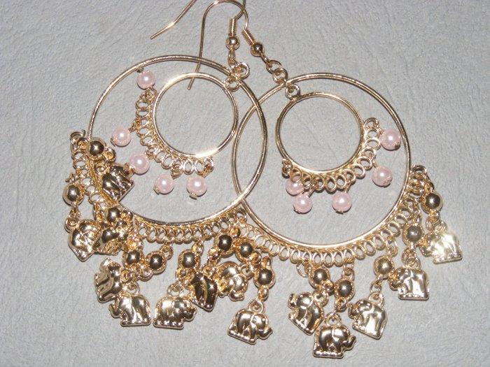Gipsy goldtone elephant chandelier earrings