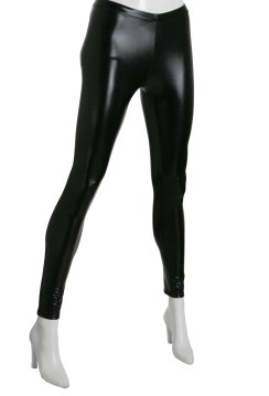 Black wet look shiny stretch tigths One Size