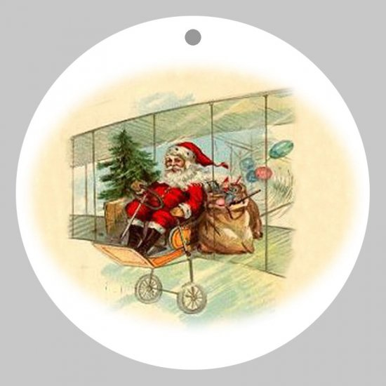 Victorian Style Santa Clause Porcelain Christmas Ornament - Flying Santa 01 - NEW