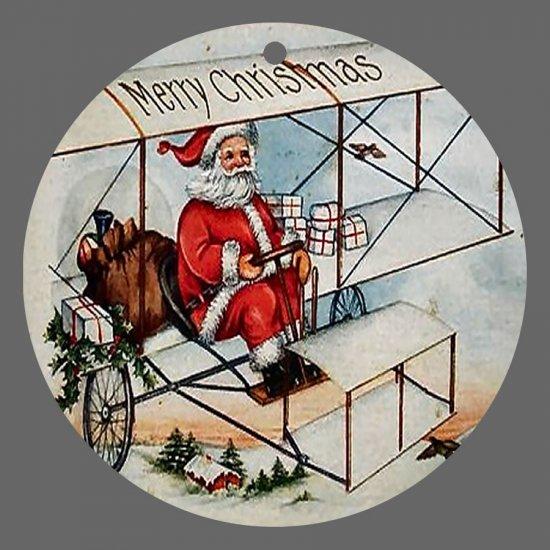 Victorian Style Santa Clause Porcelain Christmas Ornament - Flying Santa 03 - NEW