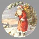 Victorian Style Santa Clause Porcelain Christmas Ornament - Santa by a Snowy Church - NEW