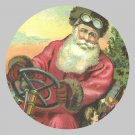 Victorian Style Santa Clause Porcelain Christmas Ornament - Santa at the Wheel - NEW