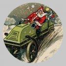Victorian Style Santa Clause Porcelain Christmas Ornament - Driving Santa - NEW
