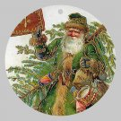 Victorian Style Santa Clause Porcelain Christmas Ornament - Green Santa - NEW