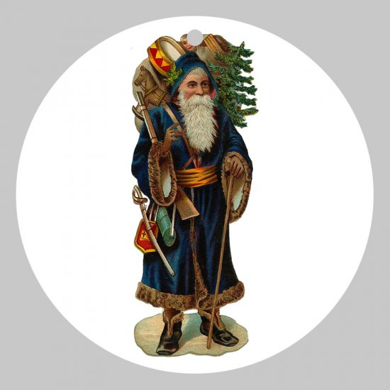 Victorian Style Santa Clause Porcelain Christmas Ornament - Woodland Santa - NEW