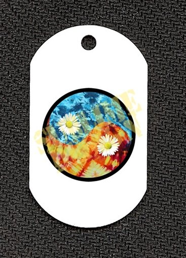 """ALUMINUM DOG TAG With 30"""" CHAIN - Tie Dye Ying-Yang - NEW"""