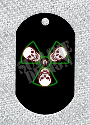 "ALUMINUM DOG TAG With 30"" CHAIN - Radiation Skulls - NEW"