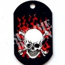 "ALUMINUM DOG TAG With 30"" CHAIN - Flaming Skull - NEW"