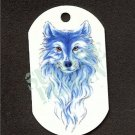 "ALUMINUM DOG TAG With 30"" CHAIN - Blue Wolf - NEW"