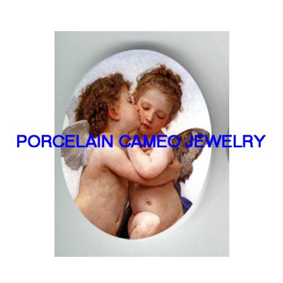 2 KISSING ANGEL CHERUB * UNSET CAMEO PORCELAIN CABOCHON