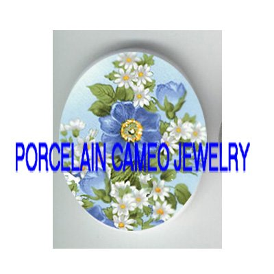 FORGET ME NOT ROSE DAISY UNSET CAMEO PORCELAIN CABOCHON