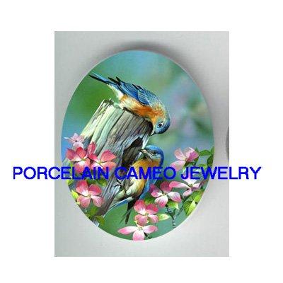 2 BLUEBIRD CHERRY BLOSSOMS UNSET CAMEO PORCELAIN CABO