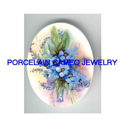 FORGET ME NOT FLOWER* UNSET CAMEO PORCELAIN CABOCHON