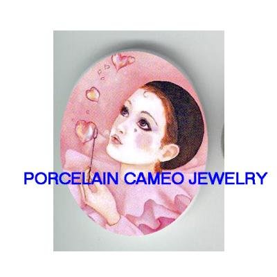 FRENCH PIERROT MIME HEART BUBBLE UNSET PORCELAIN CAMEO