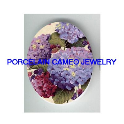 HYDRANGEA WITH BERRY UNSET PORCELAIN CAMEO CABOCHON