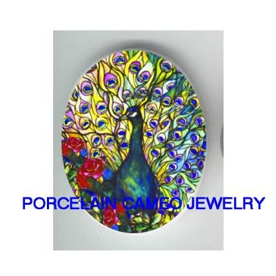 PEACOCK BIRD WITH ROSE UNSET CAMEO PORCELAIN CABOCHON