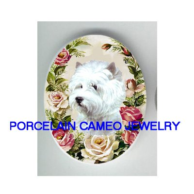 WESTIE WHITE TERRIER DOG ROSE UNSET CAMEO PORCELAIN CABOCHON