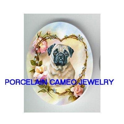 PUG DOG ROSE HEART FORGET ME NOT UNSET CAMEO PORCELAIN