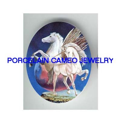 2 WHITE UNICORN PEGASUS HORSE * UNSET CAMEO PORCELAIN CABOCHON
