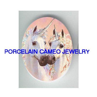 : 2 KISSING UNICORN HORSE UNSET CAMEO PORCELAIN CABOHON