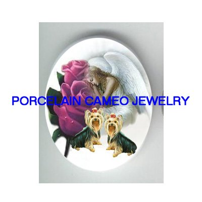 2 YORKSHIRE DOG ANGEL ROSE PORCELAIN CAMEO CABOCHON