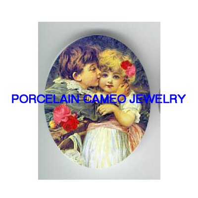 VICTORIAN BOY KISS GIRL ROSE UNSET CAMEO PORCELAIN CABO
