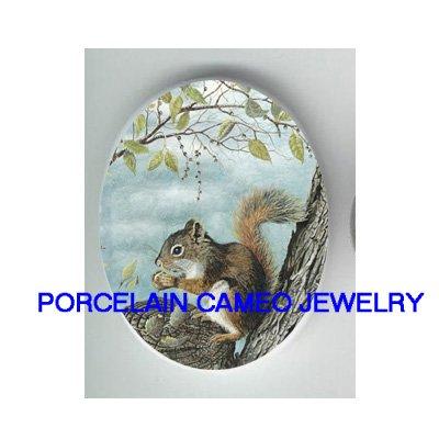 SQUIRREL HOLDING NUT UNSET CAMEO PORCELAIN CABCOHON