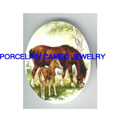 2 MARE FOAL HORSE BUTTERFLY UNSET CAMEO PORCELAIN CABO