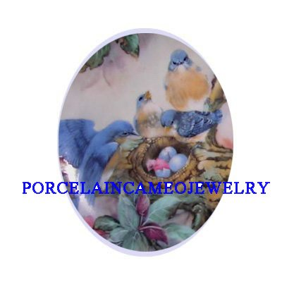 BLUEBIRD FAMILY EGG NEST  * UNSET CAMEO PORCELAIN CABOCHON