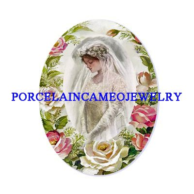 VICTORIAN VINTAGE BRIDE ROSE UNSET CAMEO PORCELAIN CABOCHON