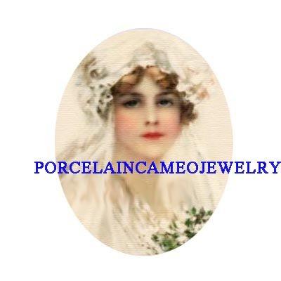 VICTORIAN VINTAGE BRIDE FLOWER UNSET PORCELAIN CAMEO
