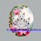 3 WESTIE TERRIER PUPPY DOG ROSE UNSET CAMEO PORCELAIN