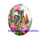 3 YORKSHIRE TERRIER PUPPY DOG ROSE   * UNSET CAMEO PORCELAIN CABOCHON